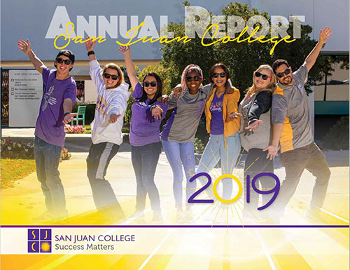 2019 SJC Annual Report Cover - San Juan College - Success matters - SJC Students smiling happy in the courtyard proud to be a college student at SJC