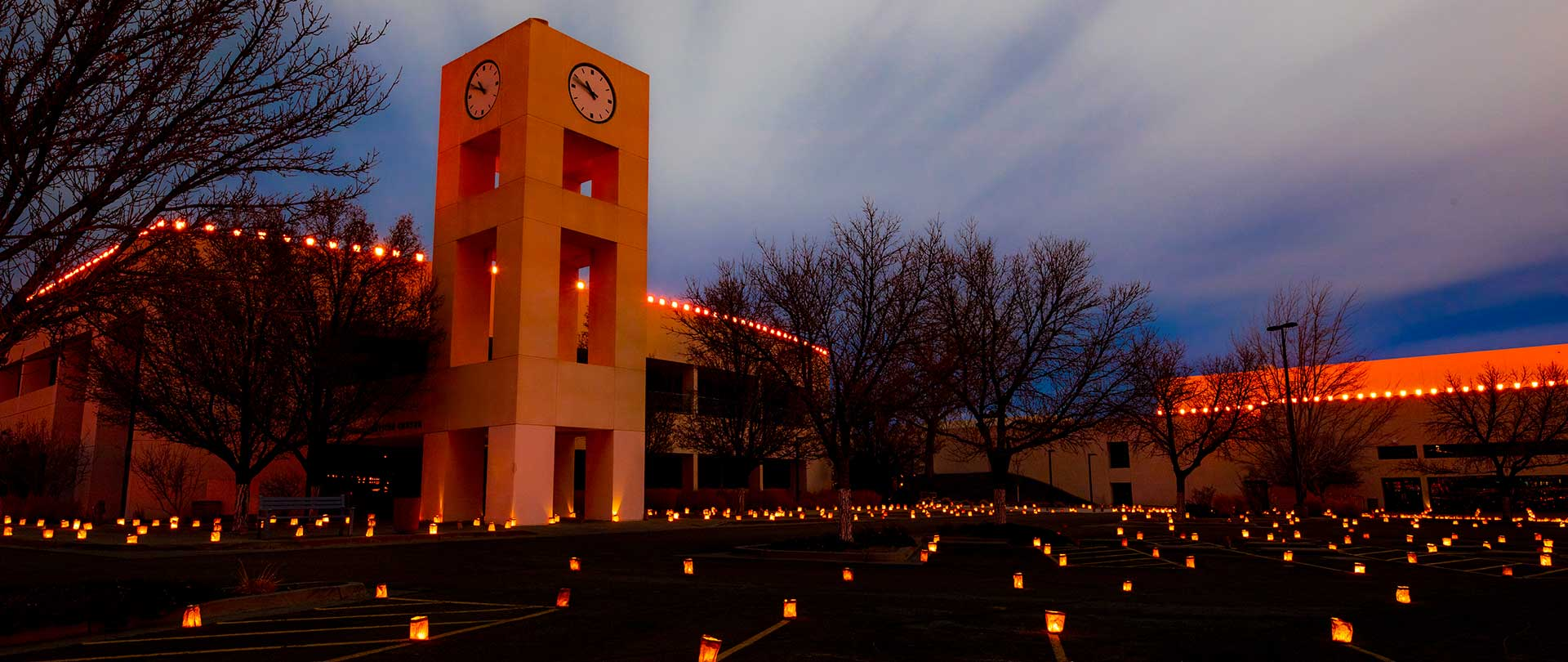 SJC Clock Tower during luminarias